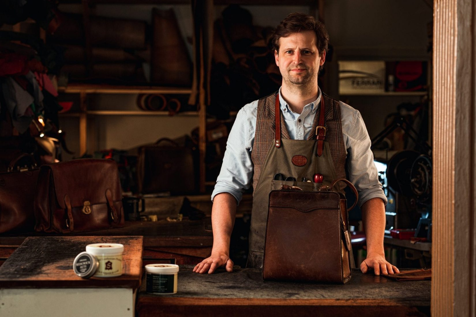 Master Craftsman, Simon, in the Mackenzie Leather Edinburgh traditional workshop